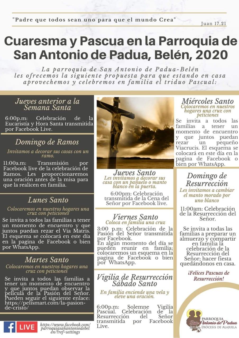 Este es el programa de actividades que puede seguir en el facebook Parroquia San Antonio de Belén.