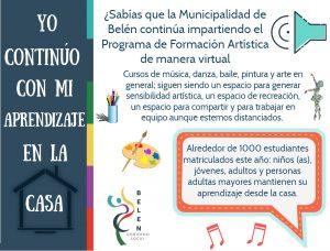 El Programa de Formación Artística de la Municipalidad sigue funcionando, durante la crisis.