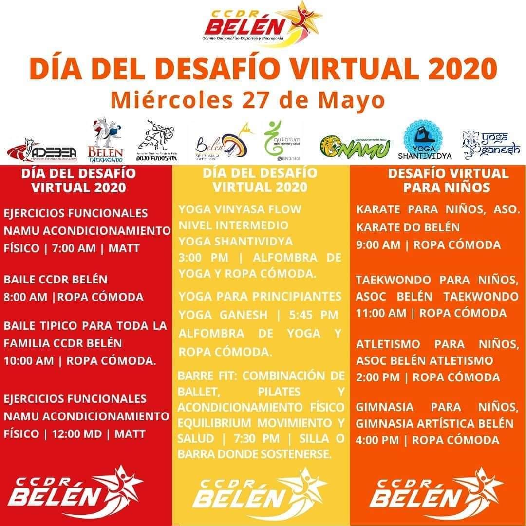 Este miércoles 27 de mayo los belemitas pueden participar virtualmente del Día del Desafío.