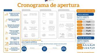 Cronograma de reapertura de actividades propuesto por el gobierno.