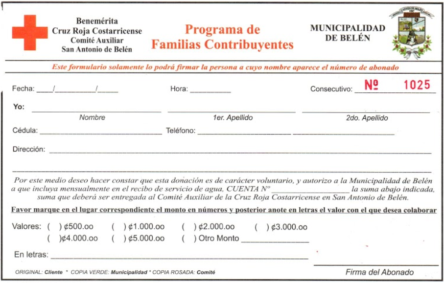 Boleta para inscribirse en el programa de Familias Contribuyentes.