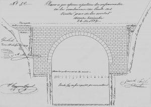 En este plano del año 1872 se observa como la forma del cañón fue aprovechada para construir el puente de arco.