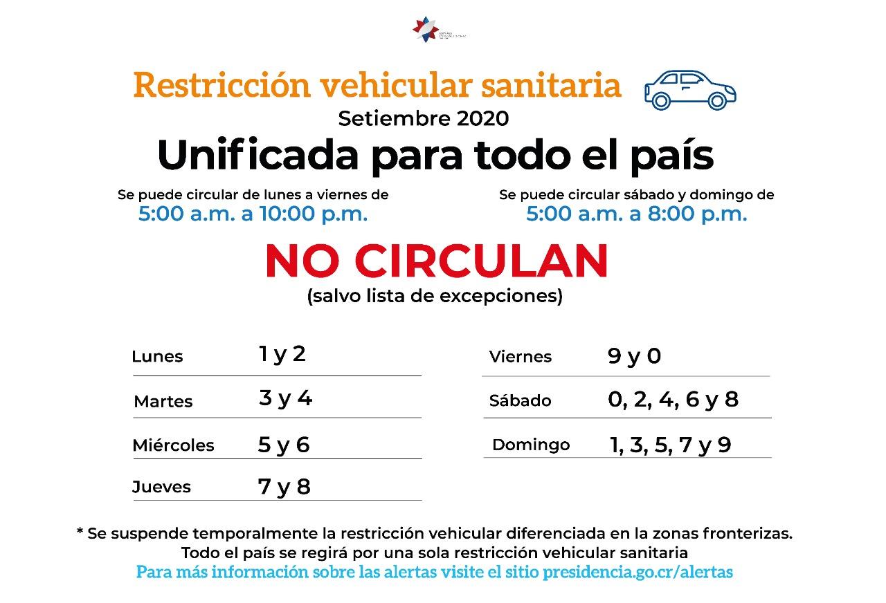 La información completa sobre las restricciones está disponible en presidencia.go.cr/alertas