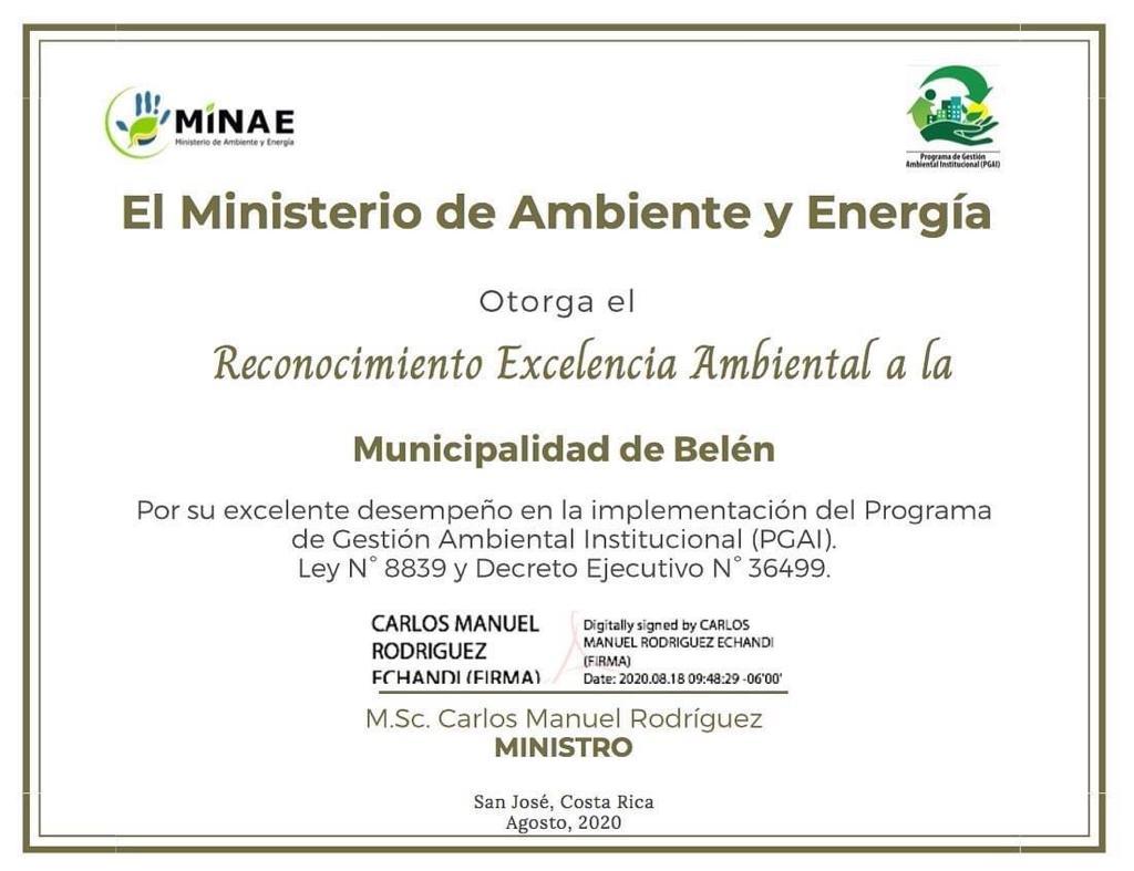 La Dirección de Gestión de Calidad (DIGECA) del Ministerio de Ambiente y Energía reconoció a la Municipalidad de Belén.