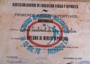 Diploma al Mérito Deportivo otorgado al Comité de Deportes de Belén por su excelente participación