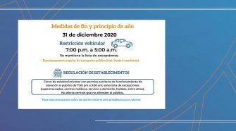 Restricciones durante este 31 de diciembre de 2020.