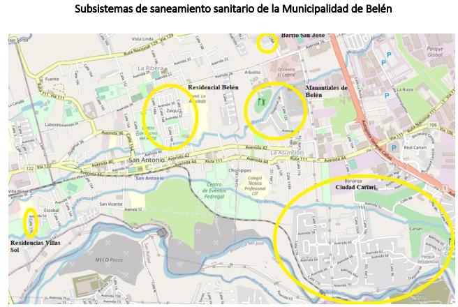 Subsistemas de saneamiento sanitario en Belén (Fuente: Unidad de Alcantarillado Sanitario de la Municipalidad de Belén).