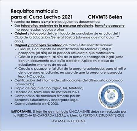 Requisitos del proceso de matrícula 2021.