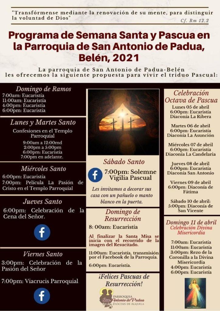 Este es programa de las actividades para Semana Santa.