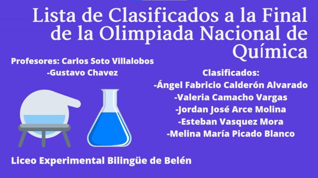 El Liceo Experimental Bilingüe de Belén será representado por 5 estudiantes en la final nacional de las Olimpiadas de Química.