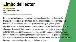 """Fabricio cuenta su experiencia con la lectura en el cuento """"Limbo del lector"""""""
