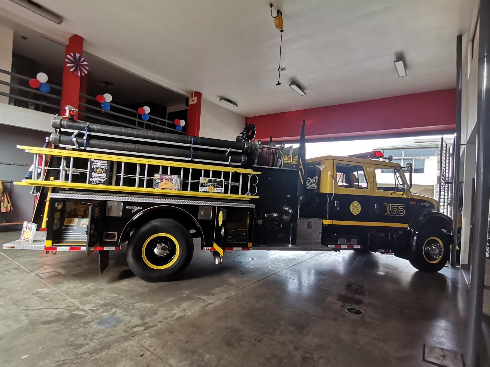 La Unidad 155 se exhibió en la Estación de Bomberos de Belén el 10 y 11 de septiembre del 2021.
